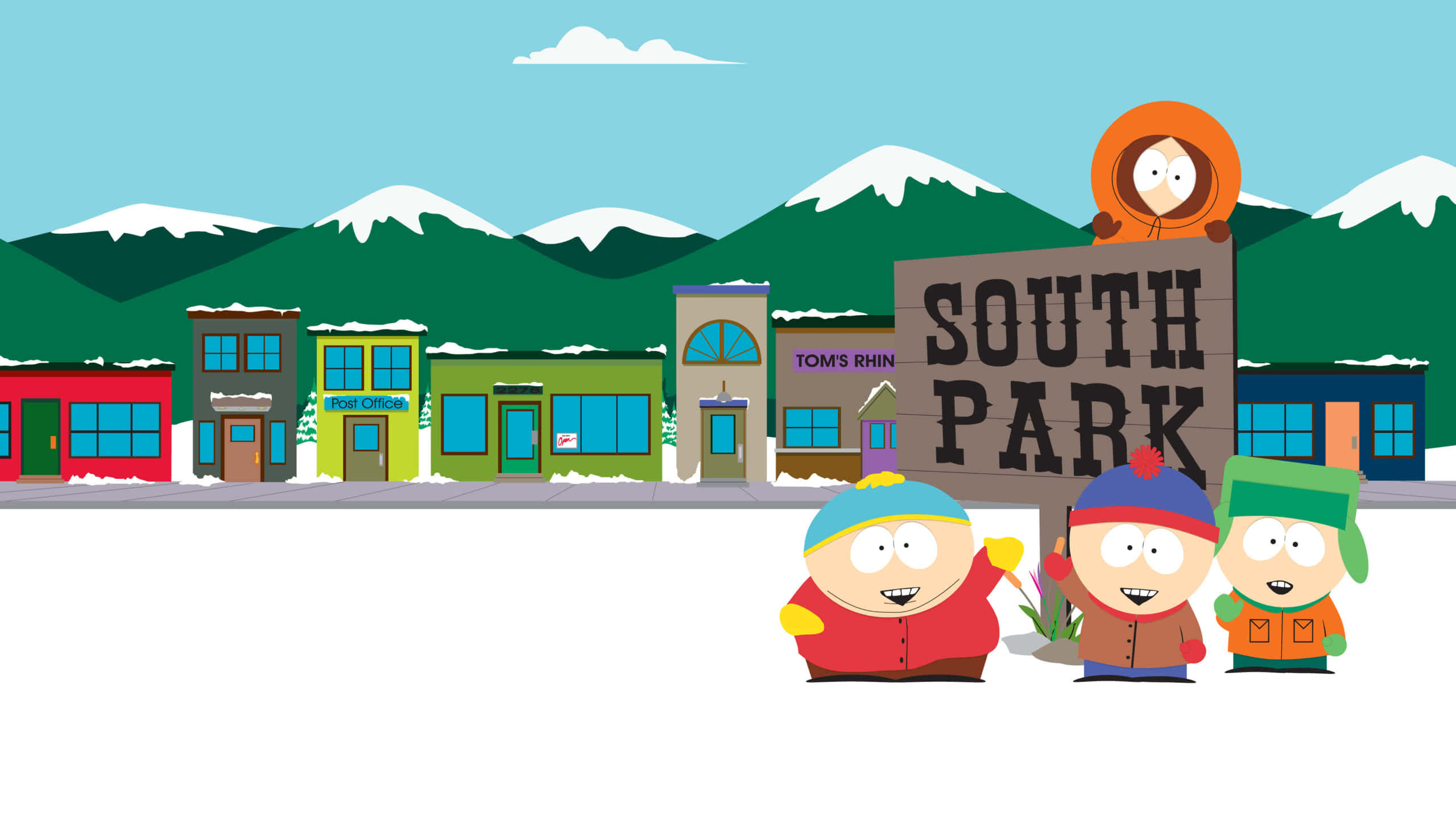 south park sign cartman kenny kyle and stan wqhd 1440p wallpaper