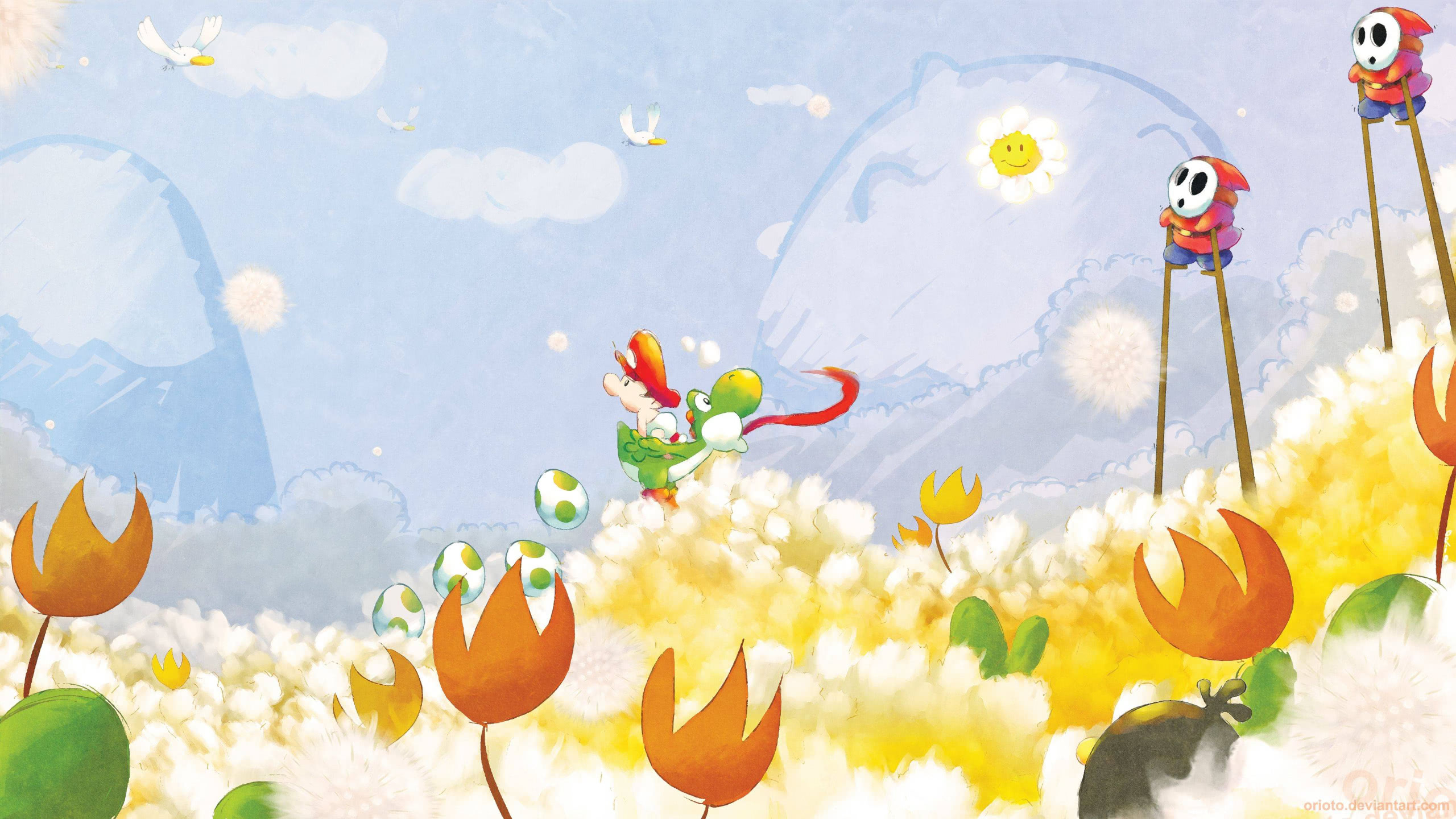 super mario world 2 yoshis island wqhd 1440p wallpaper