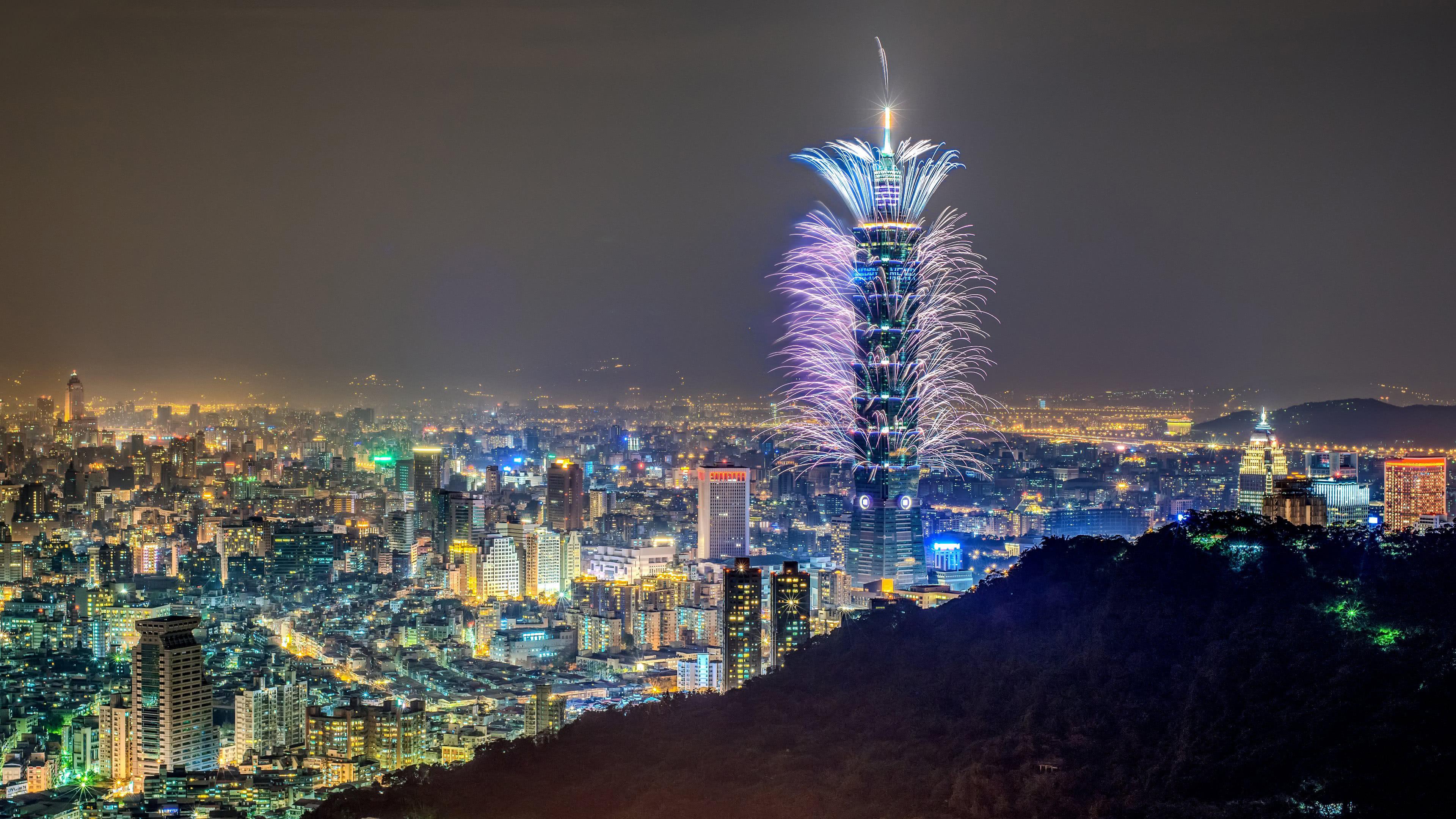 taipei 101 fireworks taiwan uhd 4k wallpaper