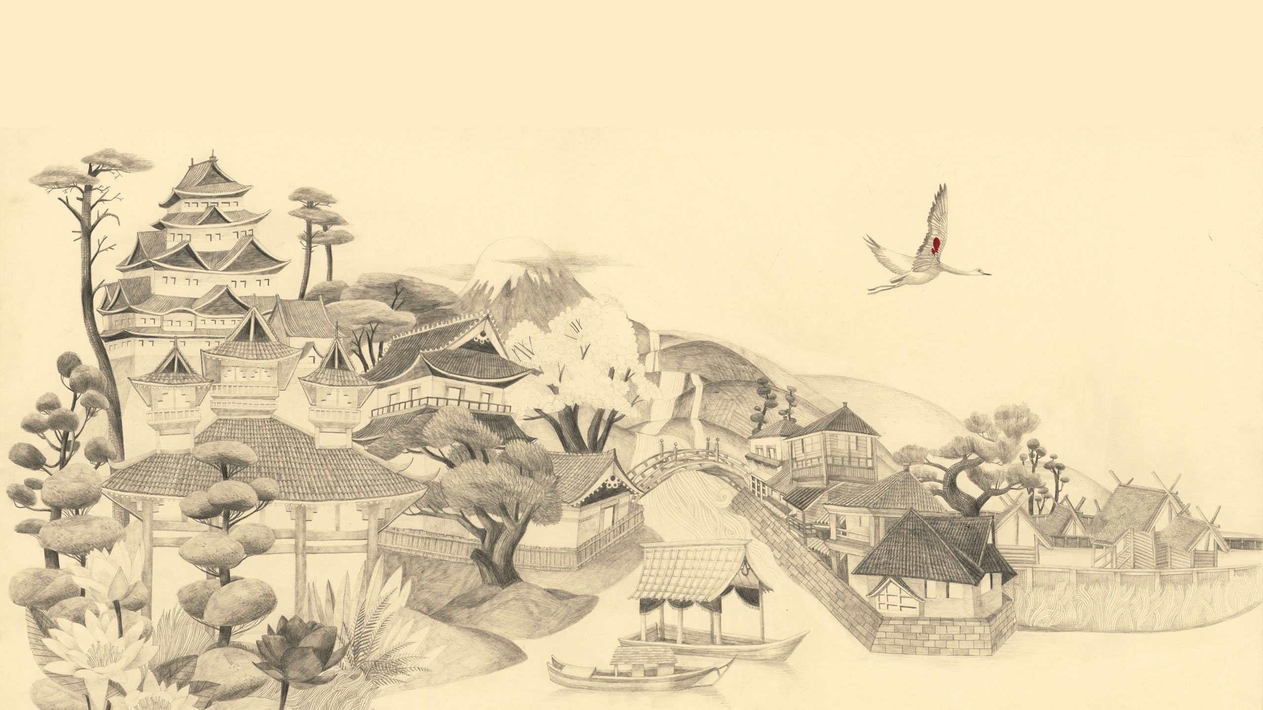 traditional japanese drawing art wqhd 1440p wallpaper