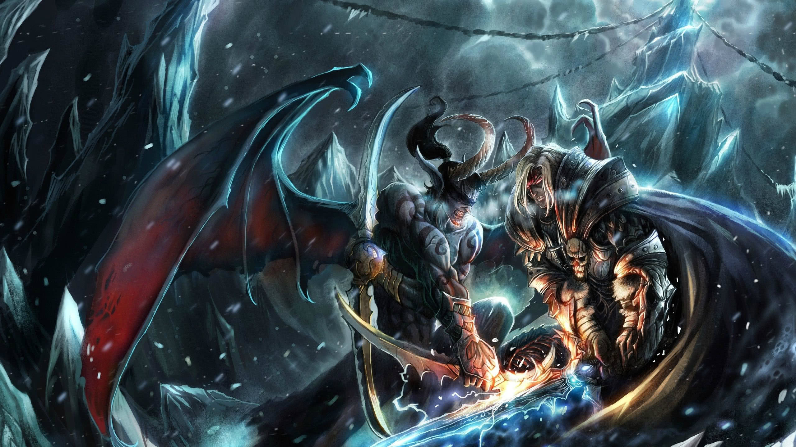 Warcraft Arthas Vs Illidan In Northrend Wqhd 1440p Wallpaper