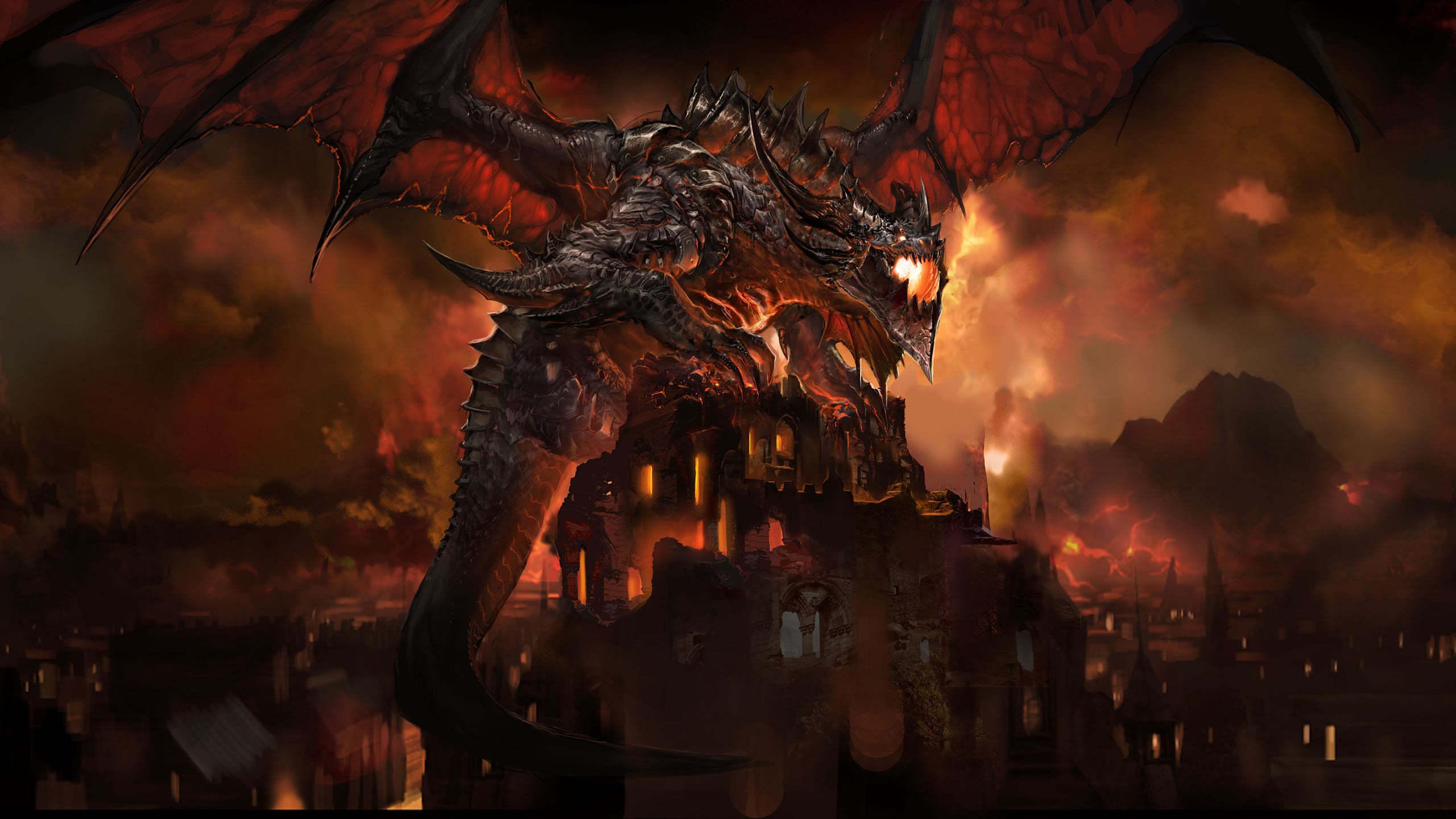 world of warcraft cataclysm deathwing wqhd 1440p wallpaper