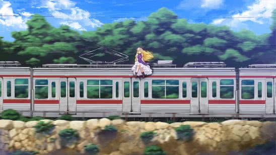 yakumo yukari sitting on train wqhd 1440p wallpaper