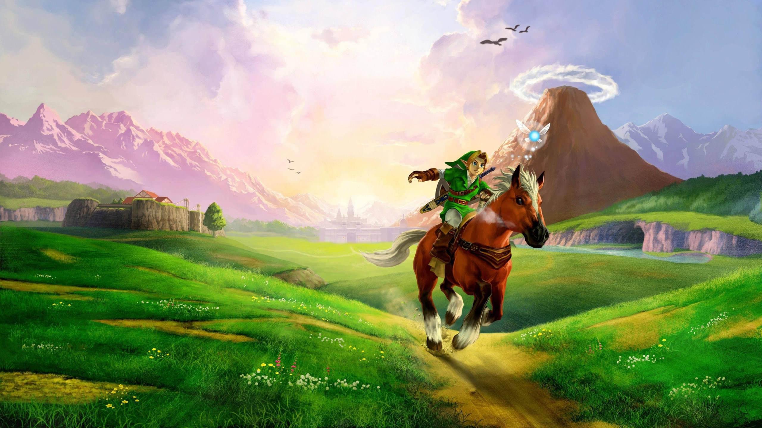 zelda ocarnia of time link riding horse wqhd 1440p wallpaper