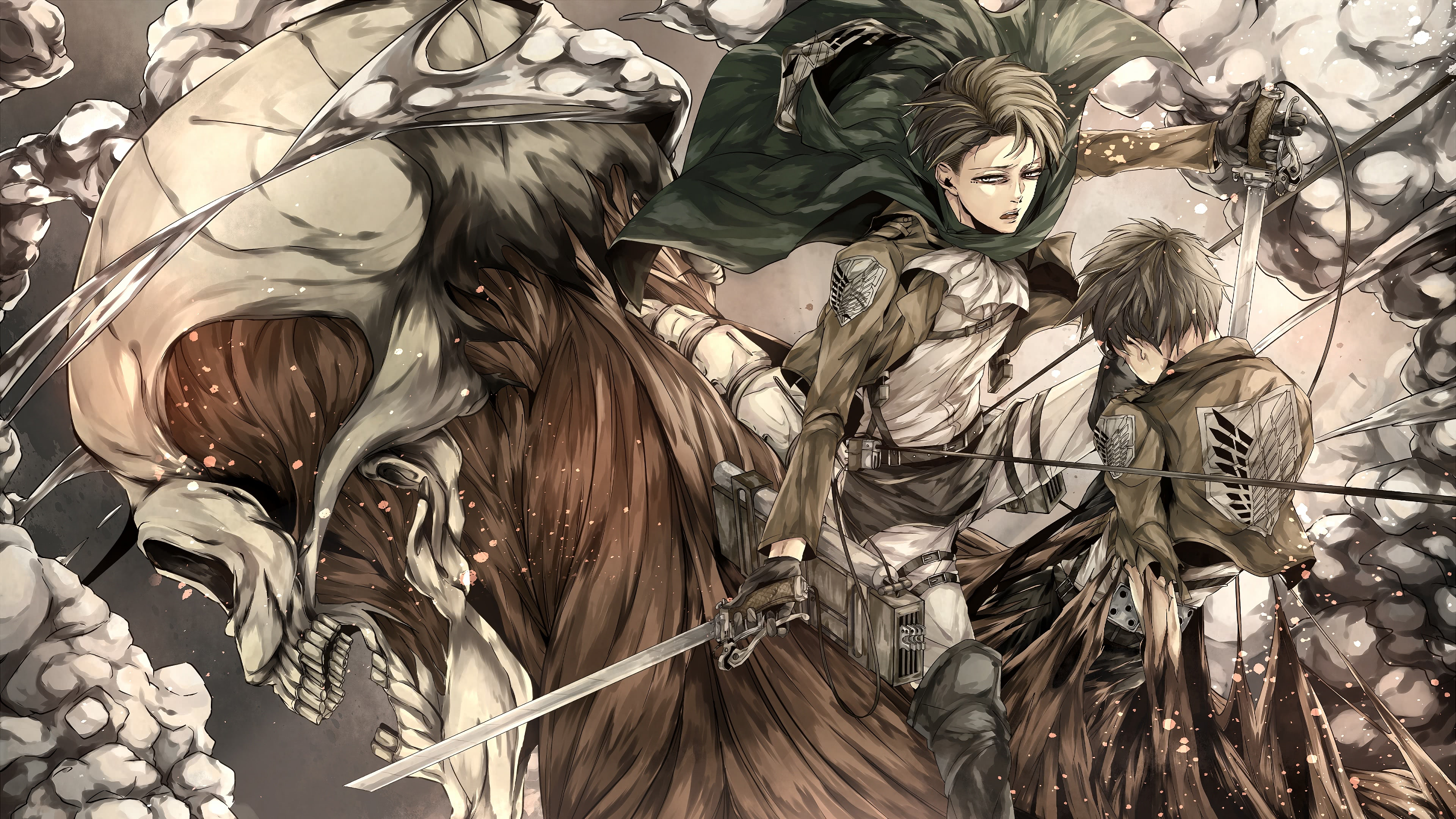 Attack On Titan Eren Yeager And Levi Ackerman Uhd 4k Wallpaper