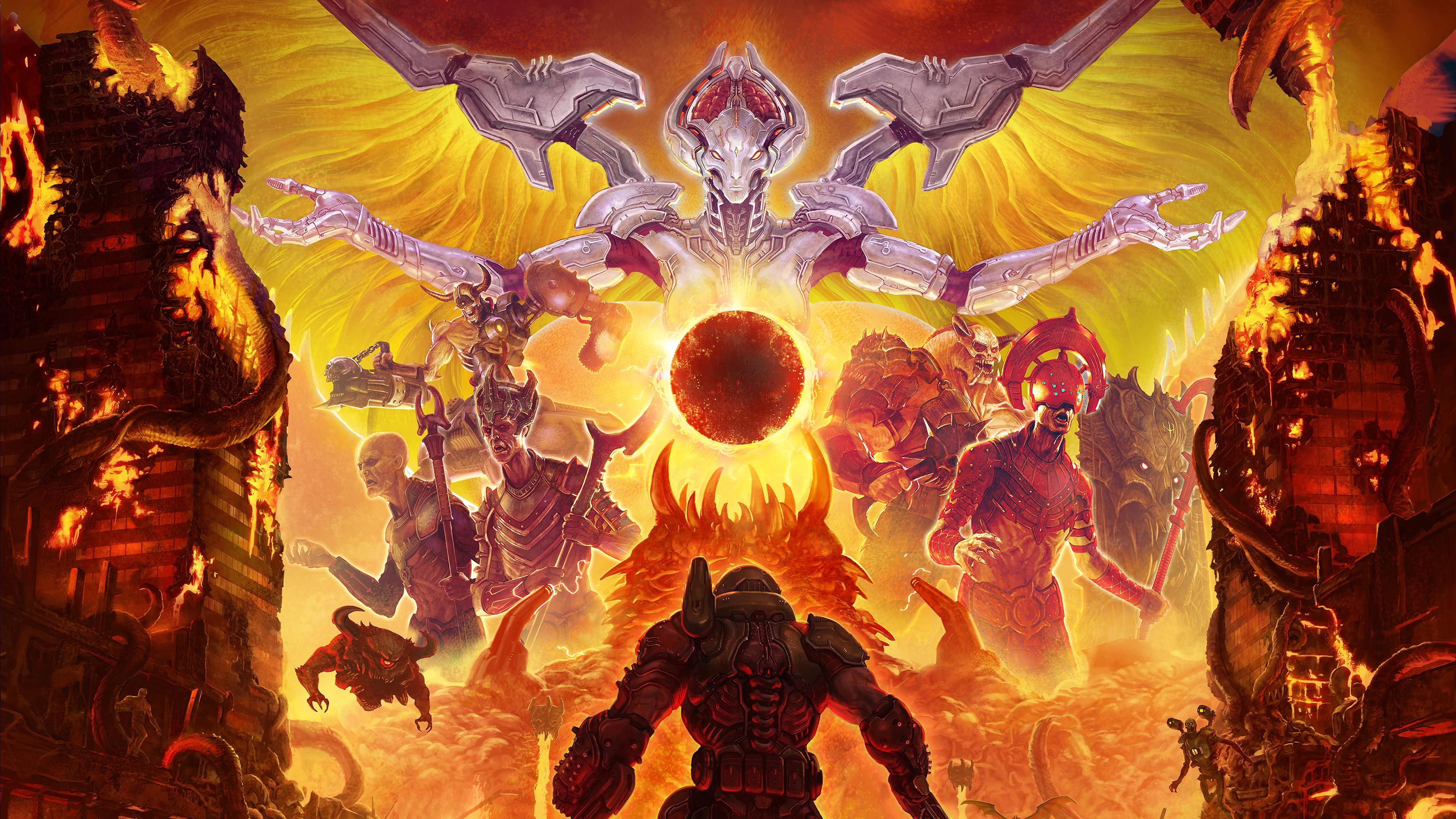 doom eternal doomguy monsters uhd 4k wallpaper