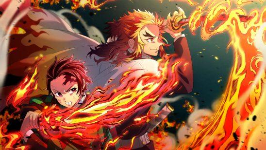 kimetsu no yaiba tanjiro kamado and kyojuro rengoku flames katana uhd 4k wallpaper