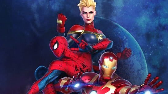 marvel ultimate alliance 3 captain marvel spiderman iron man uhd 4k wallpaper