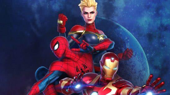 marvel ultimate alliance 3 captain marvel spiderman iron man uhd 4k wallpaper