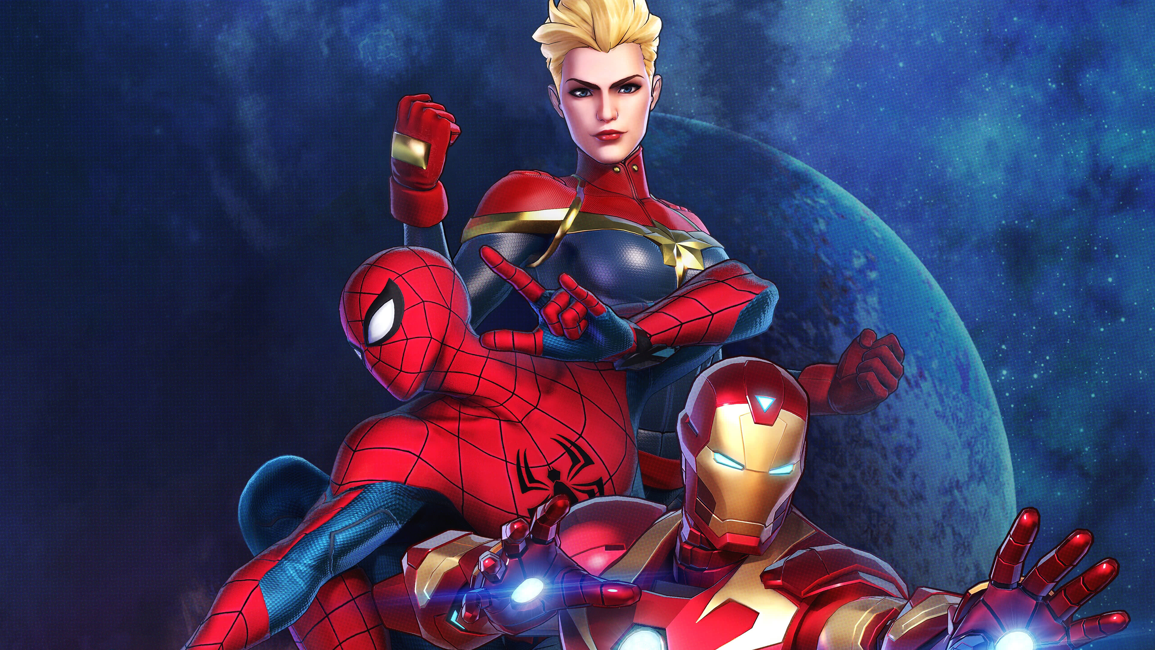 Marvel Ultimate Alliance 3 Captain Marvel Spiderman Iron Man Uhd