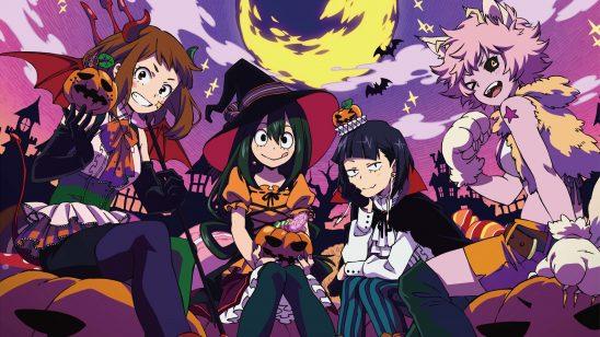my hero academia ochaco uraraka tsuyu asui kyoka jiro mina ashido halloween uhd 4k wallpaper