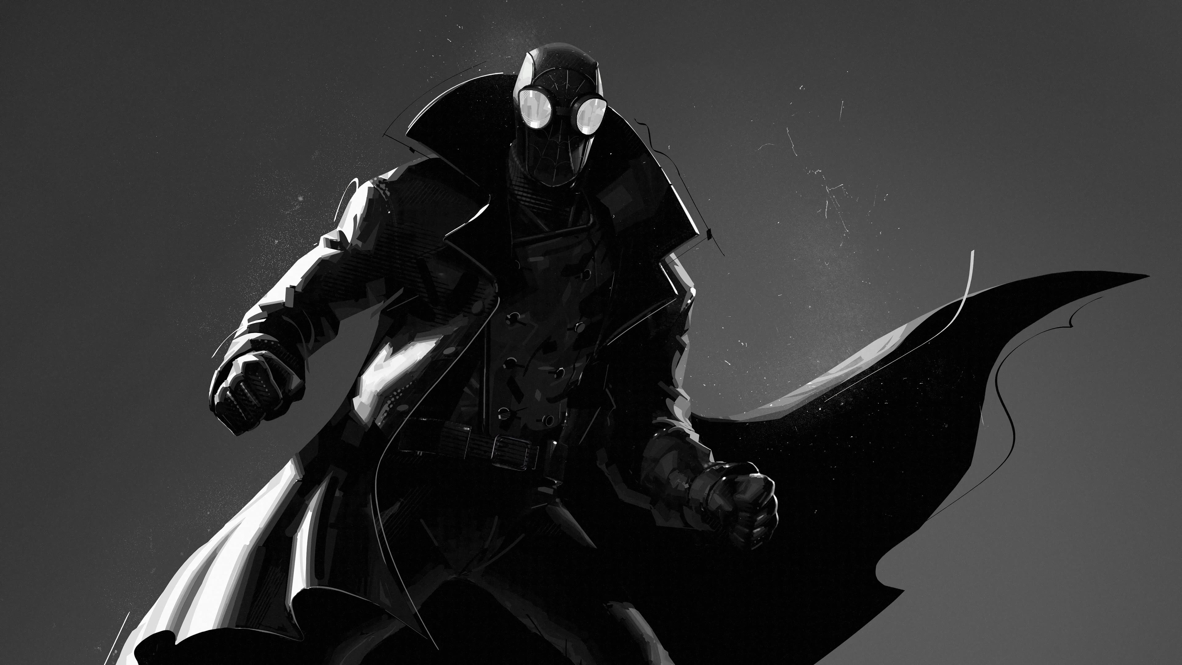 spiderman into the spider verse spiderman noir uhd 4k wallpaper