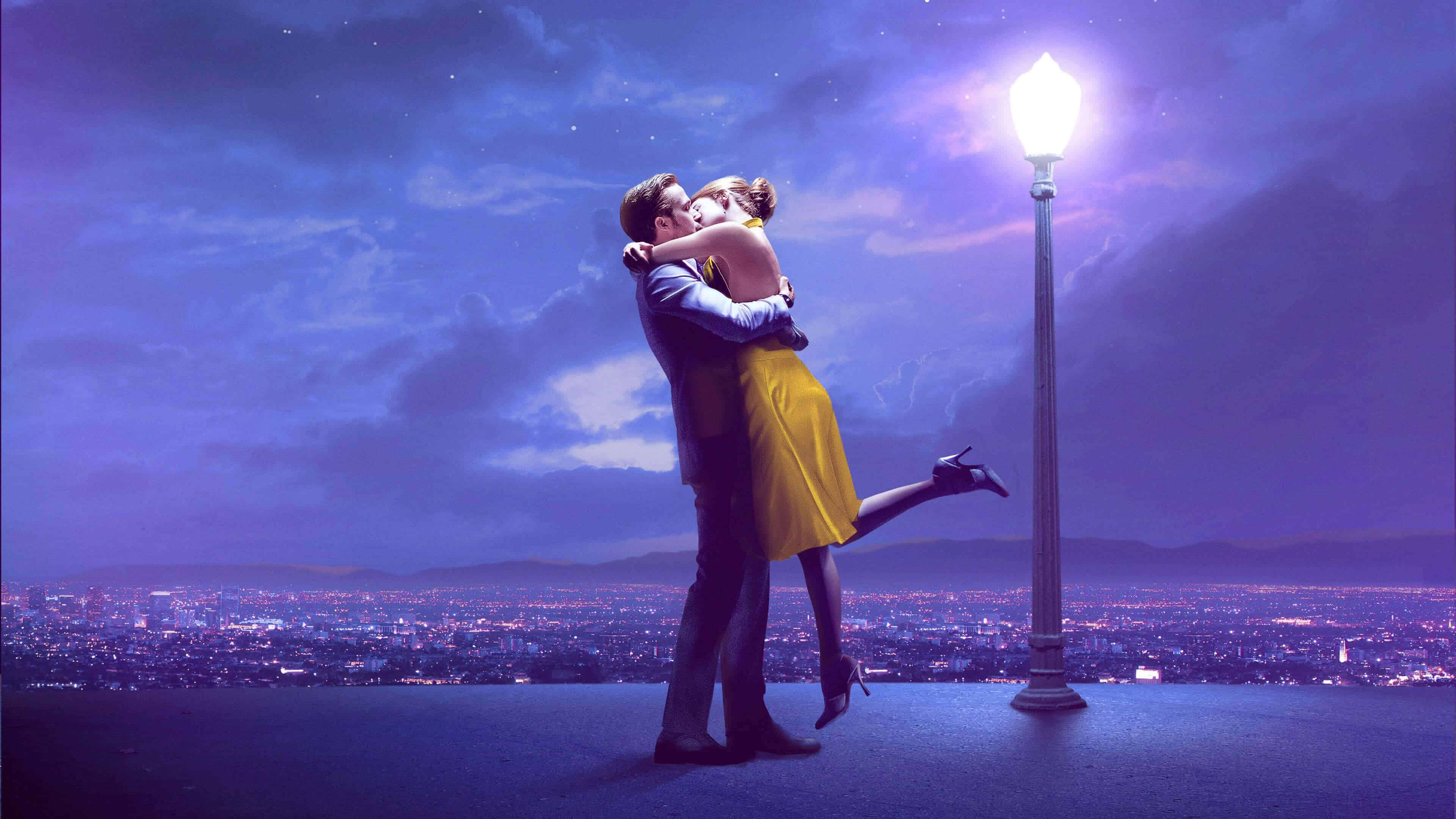 la la land sebastian ryan gosling and mia emma stone kissing uhd 4k wallpaper