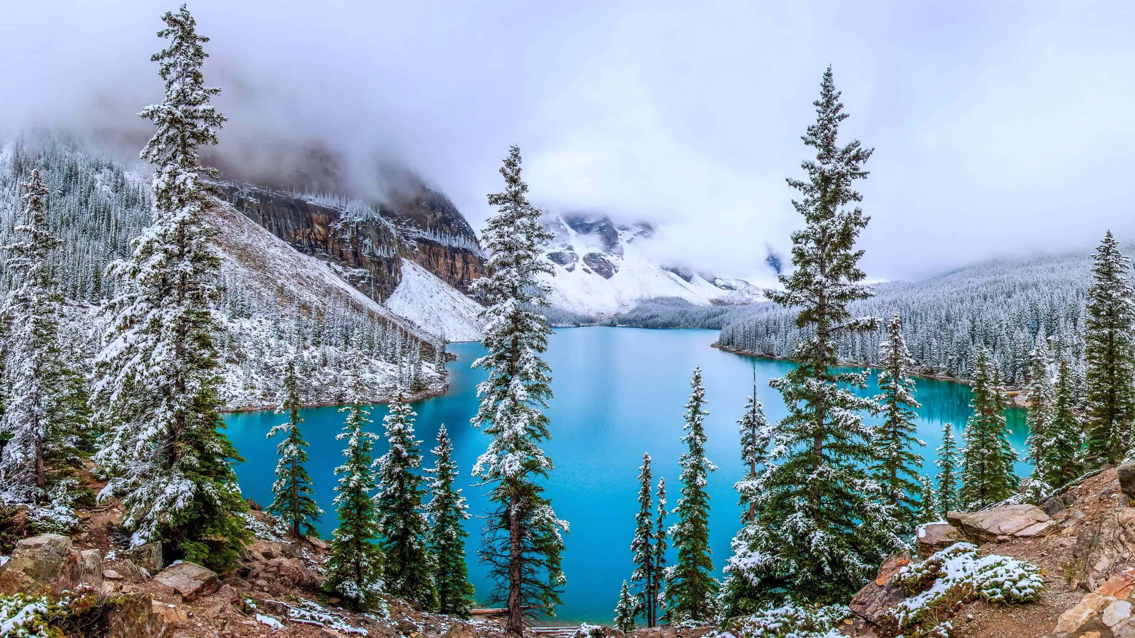 moraine lake banff canada uhd 4k wallpaper