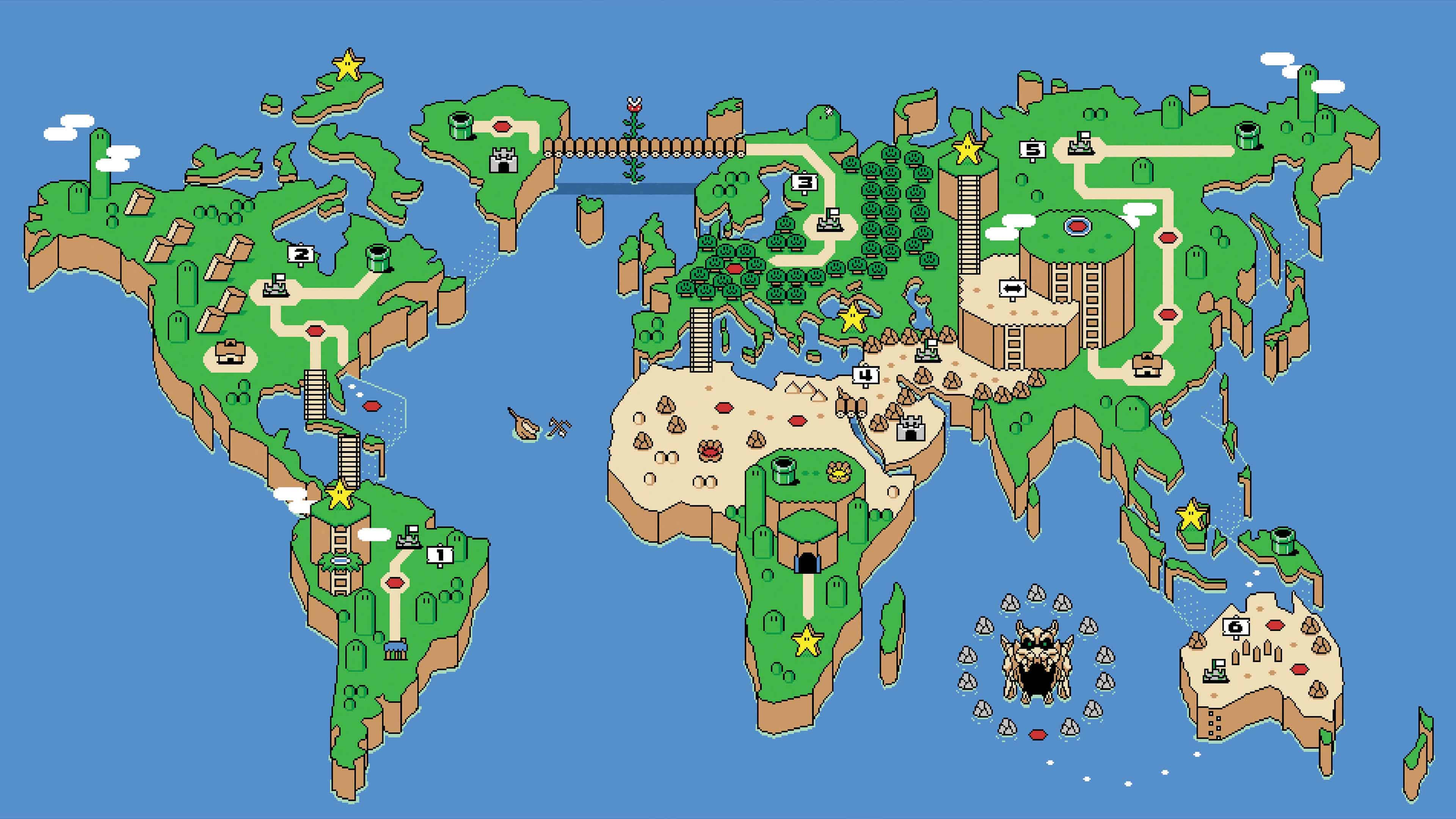super mario world map uhd 4k wallpaper